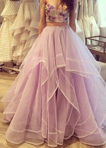 2016 Two Pieces Organza Ball Gown Prom Dresses with Sweetheart Strapless Applique Flowers Floor Length Party Gowns Evening Dresses
