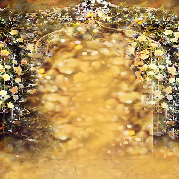 Dreamlike Polka Dots Roses Decorated Arched Door Wedding Photography Backdrop Vinyl Fabric Outdoor Spring Scenic Photo Studio Background