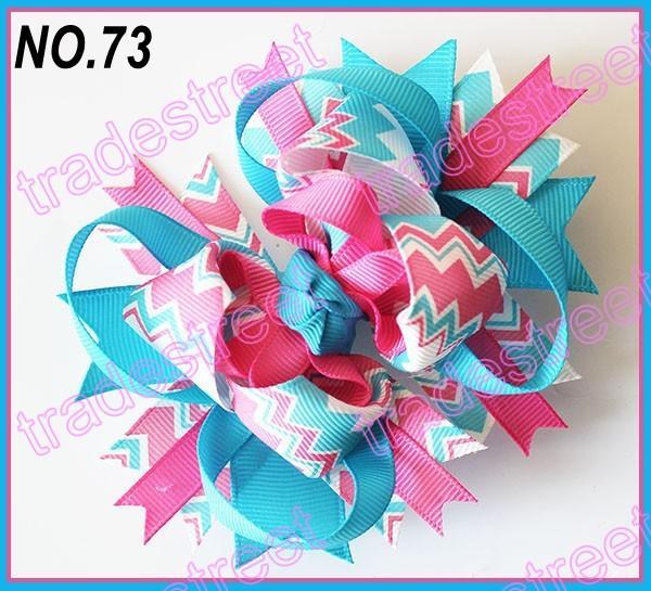 free shipping 30pcs 4.5'' chevron hair bows boutique hair bows layered corker bows