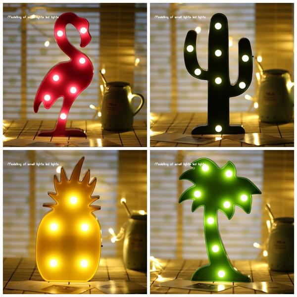 Durable LED Lumière Flamingo Cacti Ananas Noix De Coco Arbre Lampe De Table Pour Le Décor À La Maison Veilleuses Lumineuses Brillant Dans Le Noir 8aq B R