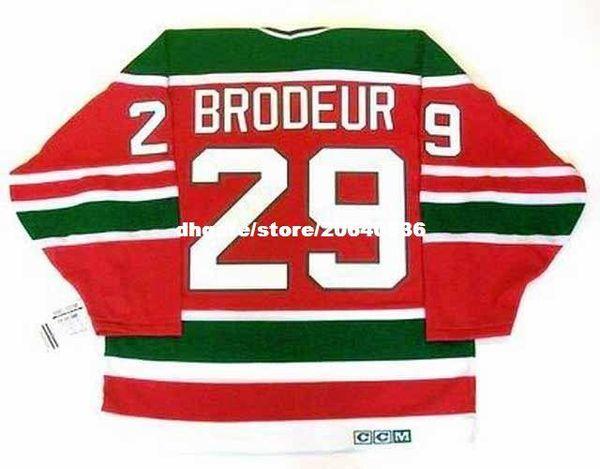 custom Mens MARTIN BRODEUR New Jersey Devils 1992 CCM Vintage Cheap Retro Hockey Jersey