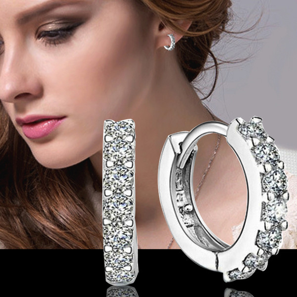 top popular 2015 new design 925 sterling silver small swiss CZ diamond hoop earrings beautiful wedding engagement jewelry free shipping 2019
