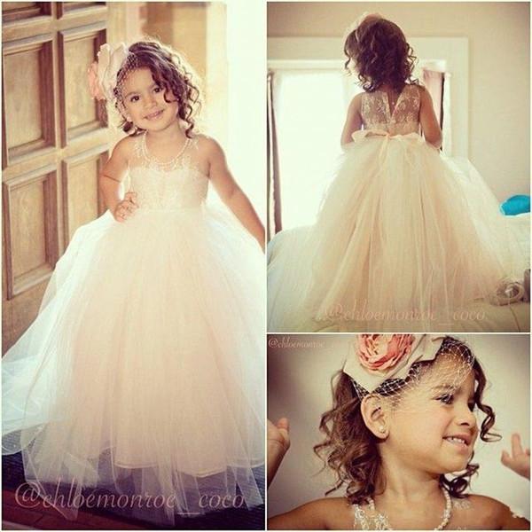 Custom Made Adorable White Little Girls' Dresses Jewel Ball Gown Tulle Organza Floor Length Lace Organza Flower Girls Dresses with Bow Tie
