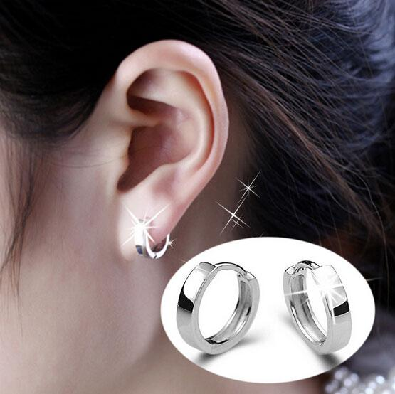 top popular 925 Sterling Silver Earrings New Jewelry Hoop Ear Cuff Clips Mens Women Earrings stud for Wedding Party 2019