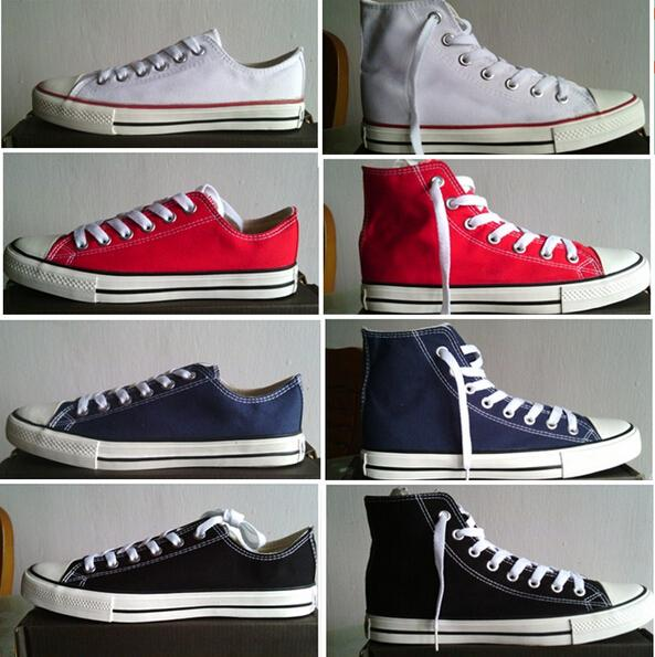 envío de la gota 2018 Zapatos RENBEN Classic de alta calidad Low-Top High-Top zapatos de lona zapatillas de deporte de los hombres / de las mujeres Tamaño EU35-45 retail