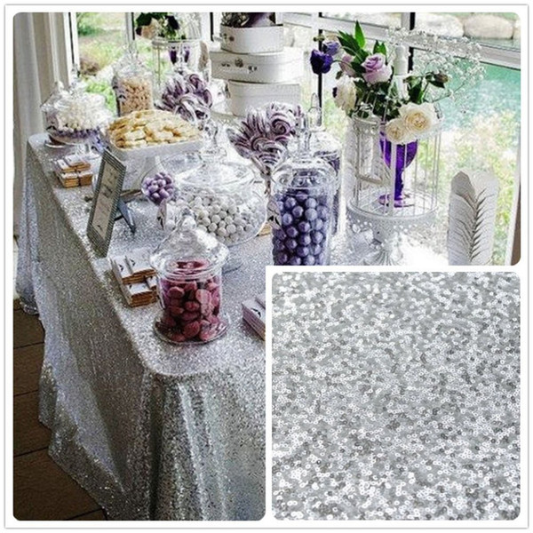 best selling ShinyBeauty For Sale 48x72inch Silver Sequin Tablecloth wholesale Wedding Beautiful Sequin Table Cloth   Overlay  Cover Rectangle