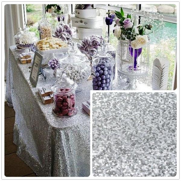ShinyBeauty für Verkauf 48x72inch Silber Pailletten Tischdecke Großhandel Hochzeit Schöne Pailletten Tischdecke / Overlay / Cover / Rechteck