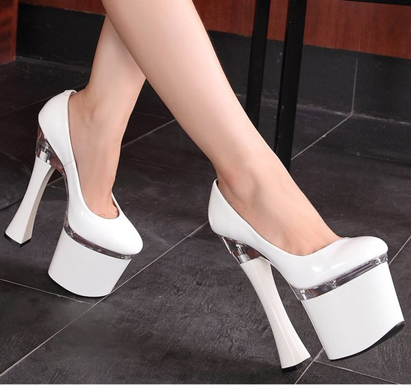 2016 new nightclub multicolor super high heels 20cm thick with paint waterproof shoes catwalk models singles Pumps