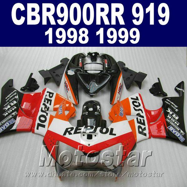 Cheap motorcycle fairing kit for Honda CBR900RR 1998 1999 red black REPSOL bodywork fairings set CBR 900 RR CBR919 98 99 QD32