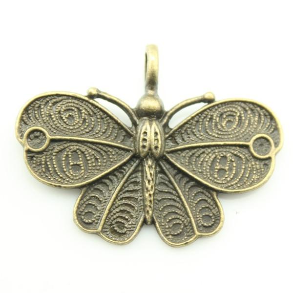 100 adet / grup 41 * 32mm antik gümüş, antik bronz kaplama kelebek charm, diy vintage takı toptan