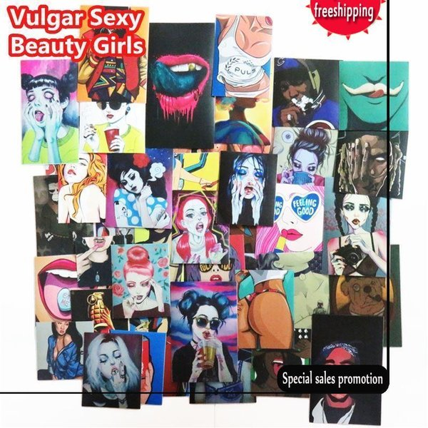 54 Pcs Vulgar Sexy beauty Girls Stickers Laptop Motorcycle Skateboard Doodle DIY Sticker Home decor Toy styling Television Decal