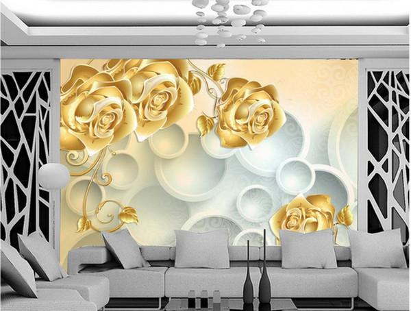 Custom photo wallpaper 3D European Golden Rose retro sofa backdrop 3d wallpaper 3d mural wallpaper 201516022