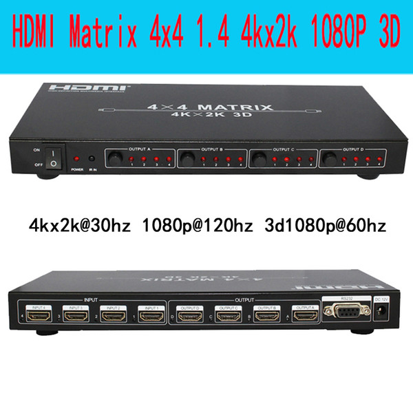 Freeshipping Ultra-high resolution HDMI matrix 4X4 4 in 4 out HDMI1.4V 3D 4kX2K RS232 with Remote control
