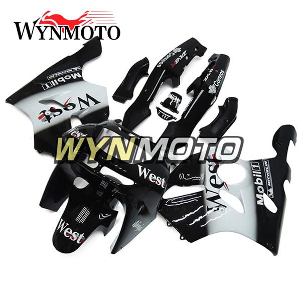 Carenatura completa bianco nero adatta per Kawasaki ZX-6R ZX6R 1994 - 1997 94 95 96 97 Kit carena moto plastica Kit pannelli corpo ABS