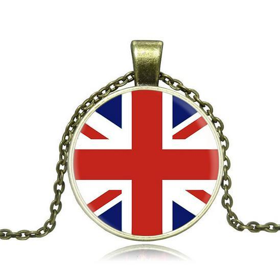 Vintage Style! Unisex, Flag of England, Necklace with circle pedant, gold and silver colors, free shipping and high quality.