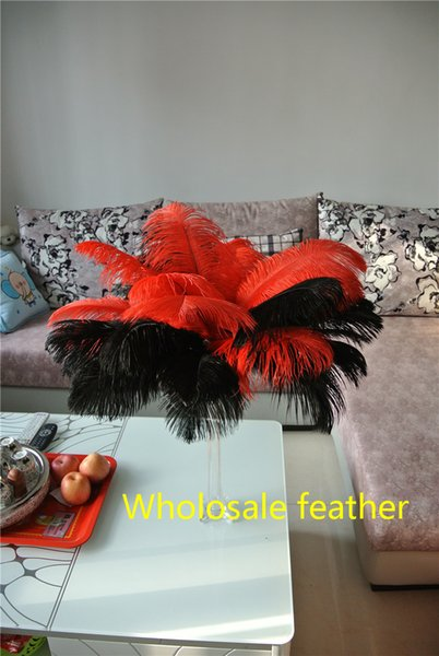 Wholesale 14-16inch(35-40cm) Red and Black ostrich feathers plumes for Wedding centerpiece wedding Decor party supply