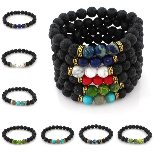 2017 New Colorized Beads Men's Women's Natural Stone Strands Bracelet For Fashion Jewelry Crafts Lava Rock Beads Charms Bracelets B362S