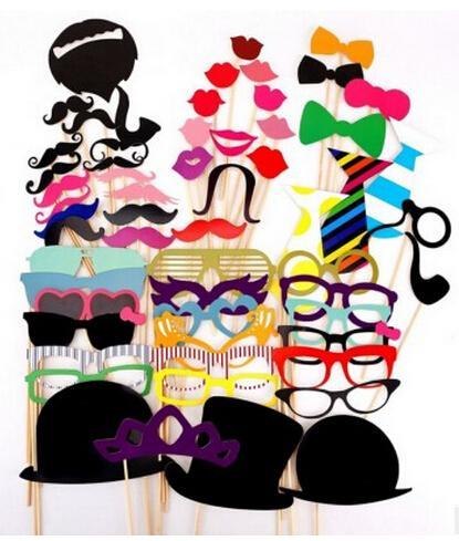 Al por mayor-58 piezas colorido Photo Booth Props Bigote labios sombrero en la fiesta de cumpleaños de la boda