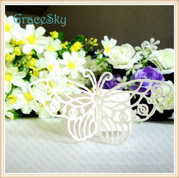 50Pcs/lot Towel Buckle Laser Cutting Butterfly Paper Wedding Decorations Napkin Ring for Party Wedding Favors Hollow out Table Decoration