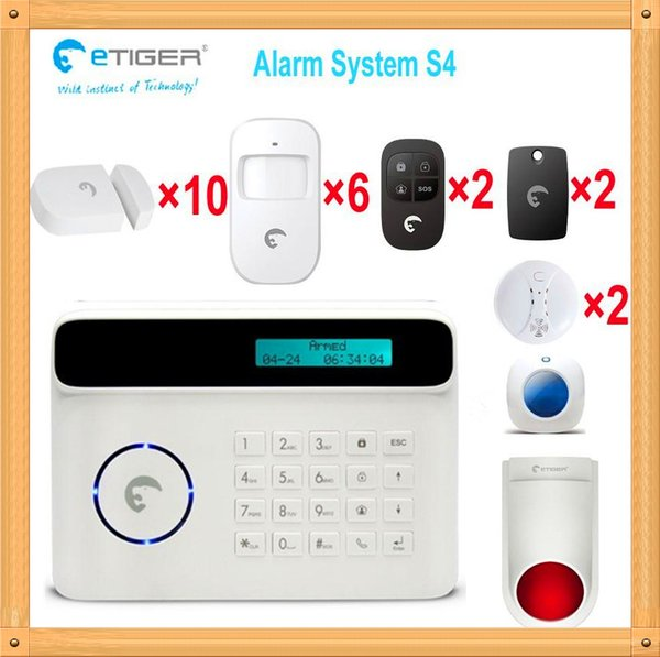 Free shipping DHL, Most popular security system etiger S4 quad band 850/900/1800/1900mhz gsm home alarm system wireless