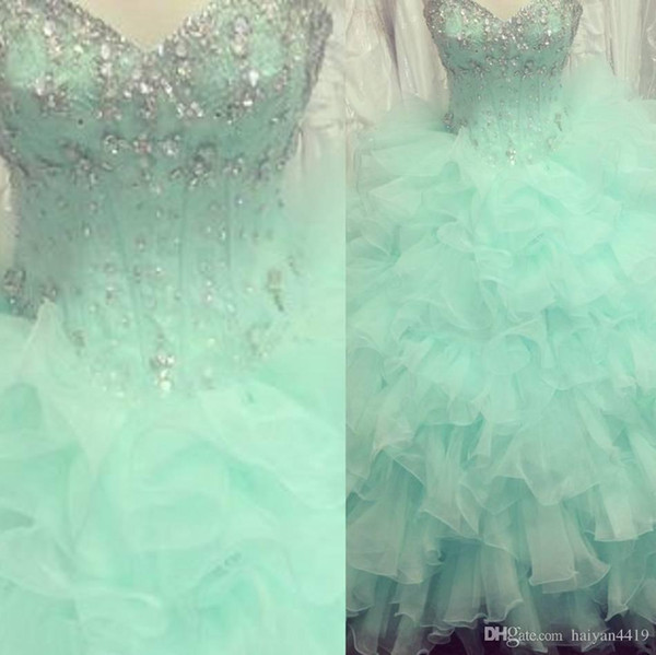 2015 Cheap Quinceanera Dresses Sweetheart Beaded Crystal Organza Ruffle Tiered Ball Gown Floor Length Mint Green Formal Pageant Prom Gowns