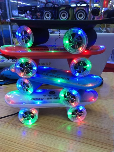 2015 New arrival Skateboard Bluetooth Wireless Speaker Mobile Audio Mini Portable Speakers with Led Light Free Shipping DHL