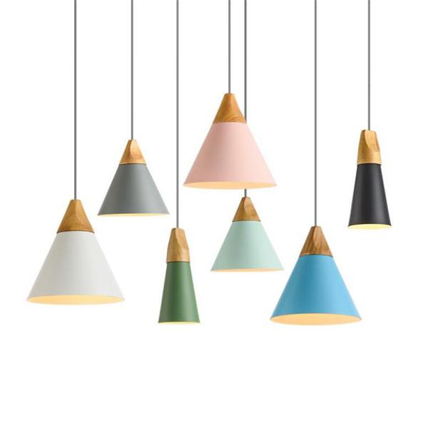 L70 - Lampade a sospensione moderne in legno Lampade a sospensione in alluminio colorato Lamparas Lampade da sala da pranzo Lampade a sospensione per illuminazione domestica