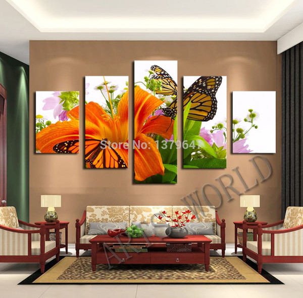 5 Panel Beautiful lilies, Large HD Top-rated Canvas Print Painting for Living Room, Wall Art Picture Gift,Wall Painting