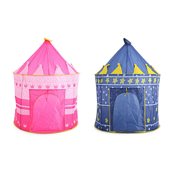 2 Colors Kids Toy Tents Children Folding Play House Portable Outdoor Indoor Toy Tent Princess Prince Castle Cubby Playhut Gifts