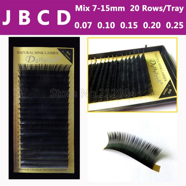 Al por mayor-Todos los tamaños, 7 ~ 15 mm MEZCLA en una bandeja, 20 filas / Bandeja, extensión de pestañas de visón, pestañas naturales, pestañas falsas individuales