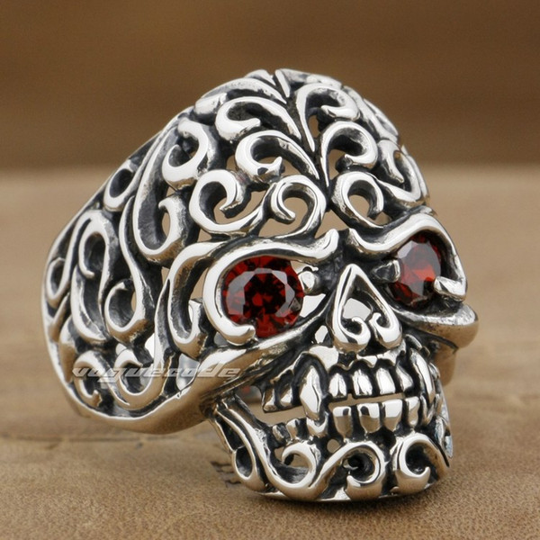 Flourish Swirls Skull 925 Sterling Silver Mens Rocker Ring 9G002A Mens Jewellery US Size 8~14 Free Shipping