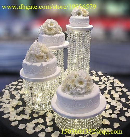 Round Wedding CupCake Stand acrylic crystal bead Cascade waterfall crystal set of 4 Dessert crystal towers