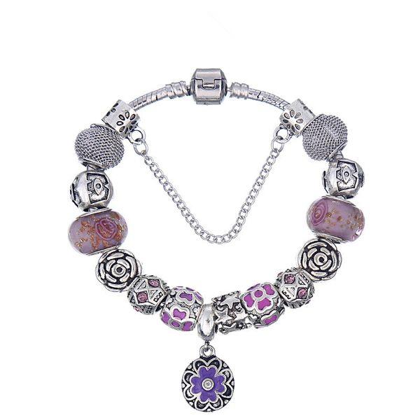 Elegant Charm Bracelets with Fancy Purple Enamel Dogwood Dangle ClipFashion Snake Chain Bangle Bracelets for Women BL118