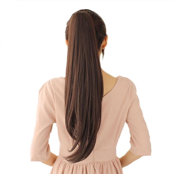 Pince à queue de cheval longue pince à cheveux clip en extension de cheveux résistant à la chaleur synthétique cheveux queue longue queue de cheval clip faux cheveux