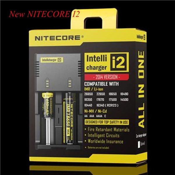 50 pcs dhl livre nitecore carregador de bateria para 16340 10440 aa aaa 14500 18650 26650 carregador de bateria nitecore i2 carregador
