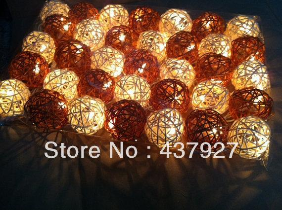 Free Shipping! 35 Brown/creamy white ball(5cm) string light rattan wicker wedding christmas party decoration patio holiday gift