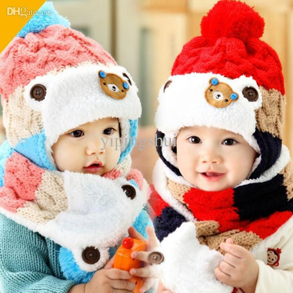 Wholesale-2015 New arrival Cartoon Bear Baby knitted Hat Scarf Kids Beanie Caps Girl and Boy Winter Hats Child Caps For baby 1-4 years