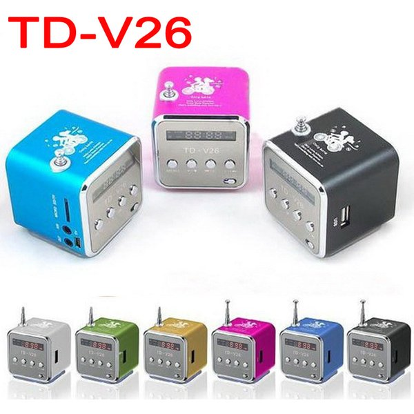 TD-V26 Mini Portable Micro SD TF Card USB Disk Speaker MP3 Music MP3 Player Amplifier Stereo FM Antenna Radio with Multi-color LED flashing