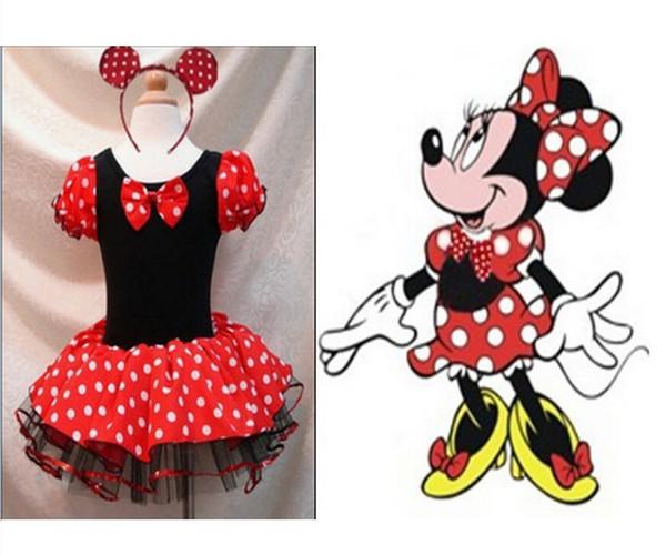 41097a1fb3d9f2 Acheter Les Enfants Filles, Robe De Fête Minnie Mouse Polka Dot Robe De  Princesse Envoyer Coiffe De Danse Jupe Robe De Fille De Noël Robes De ...