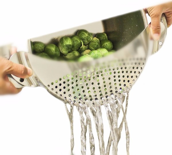Lecook Edelstahl Pan Pot Drainer Sieb Sieb mit Griff für Spaghetti Ablassen von Flüssigkeiten für 10 Töpfe Küchenhelfer