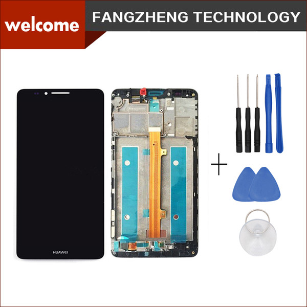 Wholesale-High quality Original Lcd Display Screen+Touch Glass Digitizer+Frame Assembly for Huawei Ascend mate7 Free Shipping+tools