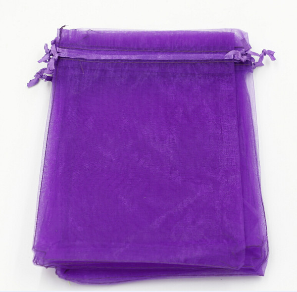 best selling Hot Sales ! 100pcs With Drawstring Organza Gift Bags 7x9cm 9x11cm 10x15cm etc. Wedding Party Christmas Favor Gift Bags (Purple)