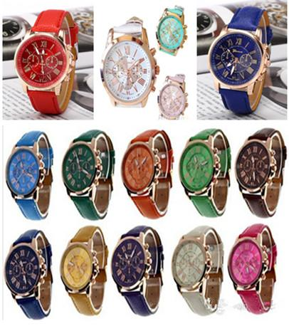 top popular 14Color Christmas gift Luxury Fashion Geneva watches Roman Numerals Watch Wrist Faux leather Colorful Candy Cute quartz Exquisite wrist DHL 2020