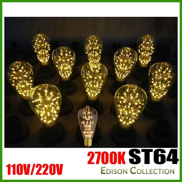 ST64 Warm White 110V 220V LED Edison Vintage Bulb Light E27 No Dizzaling Light For Cafe Bars Chrismas Tree Decoration