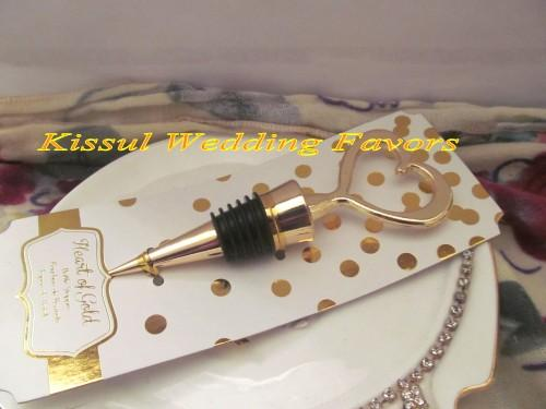 Wedding and Event Party Favors of Gold Love Heart Bottle Stopper wedding gifts for Bridal Shower favors
