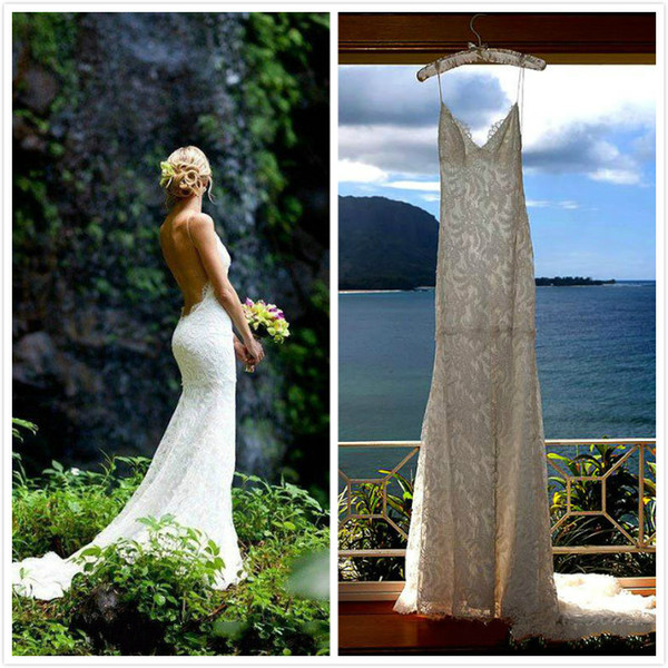 best selling Dreamlike Spaghetti Straps 2016 Lace Wedding Dresses Simple and Elegant Backless Mermaid Bridal Gowns Beach Wedding Dresses by Katie May