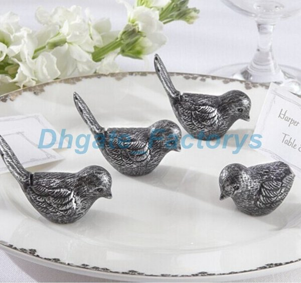 DHL Freeshipping 100pcs Antiqued love Bird Place Card Holder wedding party table decor bridal shower favor favours gift