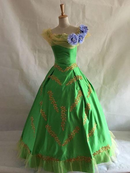 custom make green golden leaf flower alice court ball gown medieval dress Renaissance Gown princess costume Victorian dress