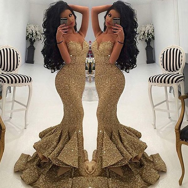bde67bf493b52 Hot Sale Dazzling Sweetheart With Slim Straps Champagne Sequins Mermaid  Prom Dresses 2016 With Ruffle Skirt