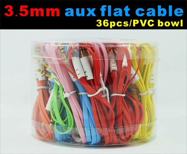 top popular 3.5mm aux flat cable audio cable with pvc bowl case for speaker device connect mobile 1 meter colorful 2021